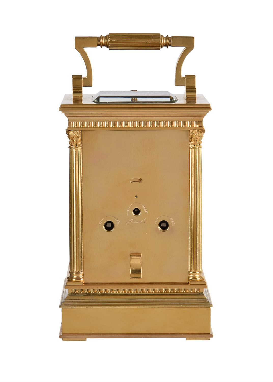 A fine French gilt brass carriage clock with painted porcelain panels and push-button repeat - Image 5 of 7