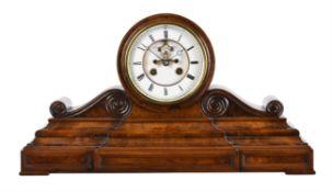 A French burr walnut drum-head mantel clock