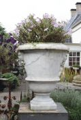 A Continental carved Carrara marble garden urn
