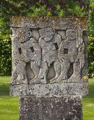 A carved limestone garden ornament
