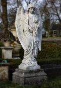 A Continental sculpted white marble model of an angel