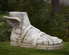 A monumental sculpted marble model of the right foot of Hermes