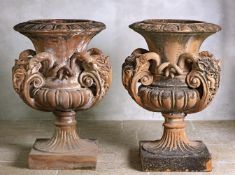 A pair of Continental terracotta planters