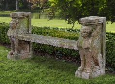 A Rosso Verona marble bench, in Egyptian Revival taste