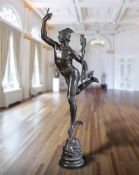 A large Continental patinated bronze model of Mercury