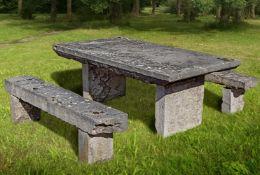 A French, Lyon region, limestone (Pierre de Saint-Cyr) suite of garden dining furniture