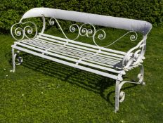 A French white painted metal garden seat