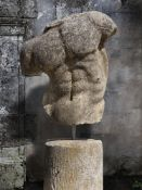 A sculpted limestone model of a male torso, after the manner of the Gaddi Torso