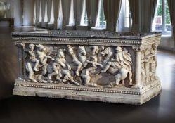 An Italian sculpted marble sarcophagus