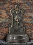 A Continental cast iron wall fountain