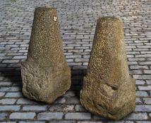 A pair of Continental limestone conical driveway corner stones or boundary markers