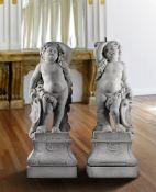 A pair of Flemish sculpted Carrara marble models of putti
