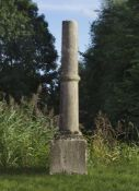A French Bourgogne limestone column on plinth