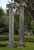 A pair of Continental limestone columns