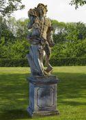 A North Italian sculpted limestone garden model of Mercury