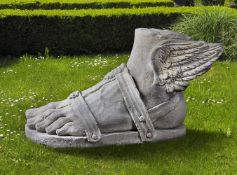 A sculpted limestone model of the left foot of Hermes