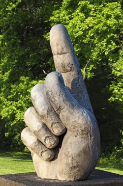 A sculpted marble model of a human hand