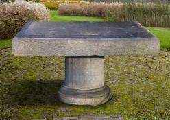 A Belgian bluestone pedestal garden table