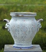 A French emaille enamel decorated twin handled urn
