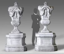 A pair of magnificent Italian sculpted white marble urns