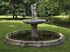 A Continental sculpted marble garden fountain