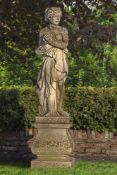 A sculpted stone garden model of Venus
