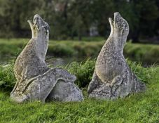 A pair of sculpted limestone models of seals