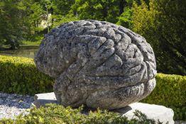 λ A unique Italian sculpted limestone model of a human brain