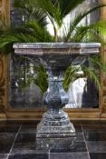 A carved green marble fountain
