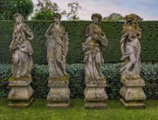 A set of four Continental sculpted limestone models of maidens representative of the Four Seasons