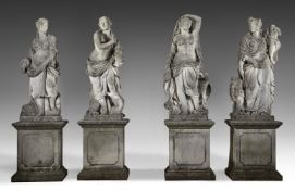 A set of four impressive sculpted limestone models of the four elements