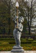 A Dutch cast zinc figural torchere