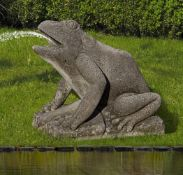 An Italian sculpted limestone model of a frog