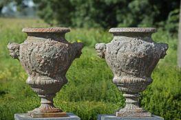 A pair of Continental cast iron garden urns