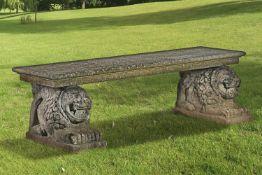 A stone composition garden seat