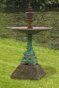 A French green painted cast iron fountain
