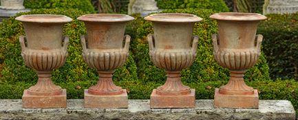 A set of four terracotta vases
