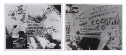 First live TV broadcast from outer space (two images), Apollo 7, October 1968