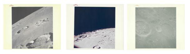 Three views of the lunar surface taken from orbit, Apollo 12, November 1969