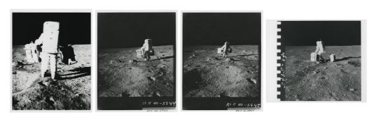 Photographic sequence: Buzz Aldrin carrying ALSEP to its deployment site, Apollo 11, July 1969