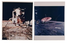 Diptych: the LM Intrepid, Alan Bean and the S-band antenna, Apollo 12, November 1969, EVA 1