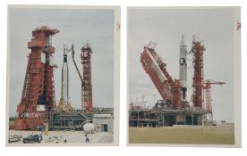 Gemini Titan II and Atlas-Agena on launch pads [two prints], Gemini 10, July 1966