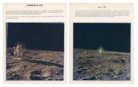 Diptych: Blue halo around Alan Bean deploying the ALSEP, Apollo 12, November 1969, EVA 1