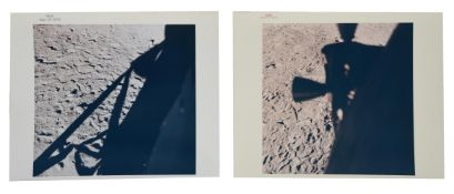 Diptych: shadows of the LM 'Eagle' silhouetted against the Moon's surface, Apollo 11, July 1969