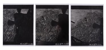 Photographic sequence from the LM showing the US flag surrounded by footprints, Apollo 11, July 1969