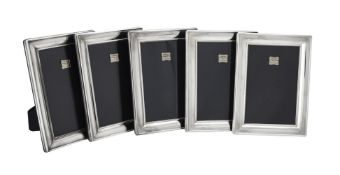 Five silver mounted rectangular photo frames