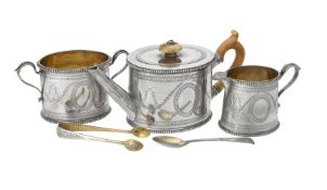 Y A Victorian silver oval three piece bachelors tea set