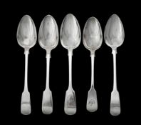 Two George III Scottish fiddle pattern table spoons by Lindsay Beech