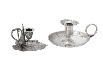 Two George IV silver leaf shaped chamber sticks by Joseph Willmore