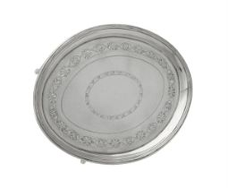 A George III silver oval tea pot stand by Timothy Renou